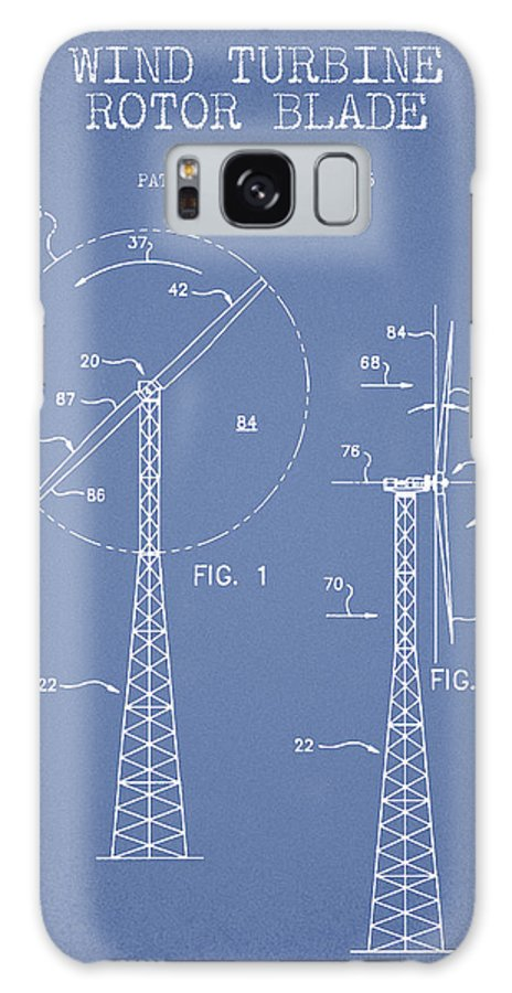 Wind Turbine Galaxy Case featuring the digital art Wind Turbine Rotor Blade Patent From 1995 - Light Blue by Aged Pixel