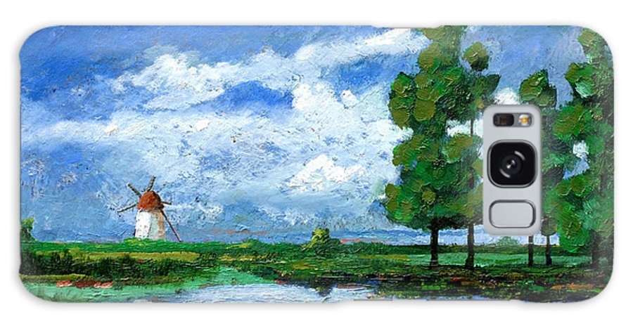 Dutch Landscape Galaxy S8 Case featuring the photograph Windmill, Holland, 2006 Oil On Board by Trevor Neal
