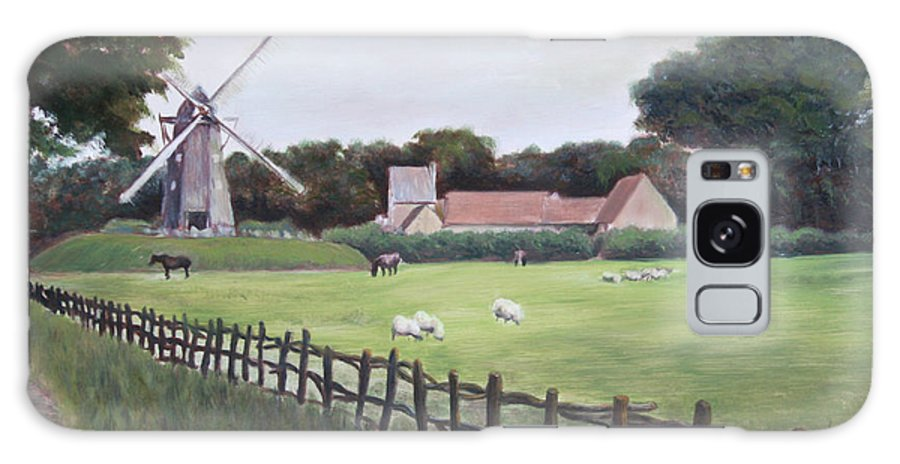 Farm Galaxy S8 Case featuring the painting Windmill On Farm by Jennifer Lycke