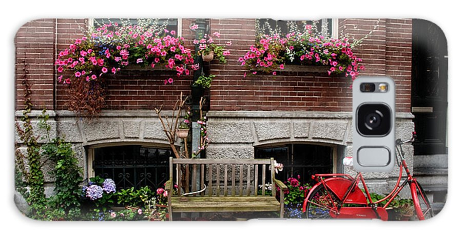 Amsterdam Galaxy S8 Case featuring the photograph Window Box Bicycle And Bench -- Amsterdam by Thomas Marchessault