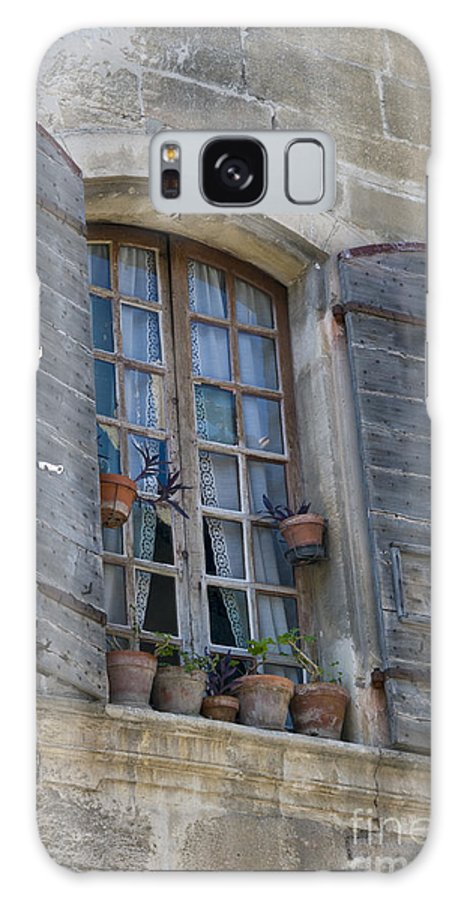 Arles France Window Windows Shutter Shutters Pot Pots Plant Plants Building Buildings Structure Structures City Cities Cityscape Cityscapes Provence Architecture Galaxy S8 Case featuring the photograph Window Decoration by Bob Phillips