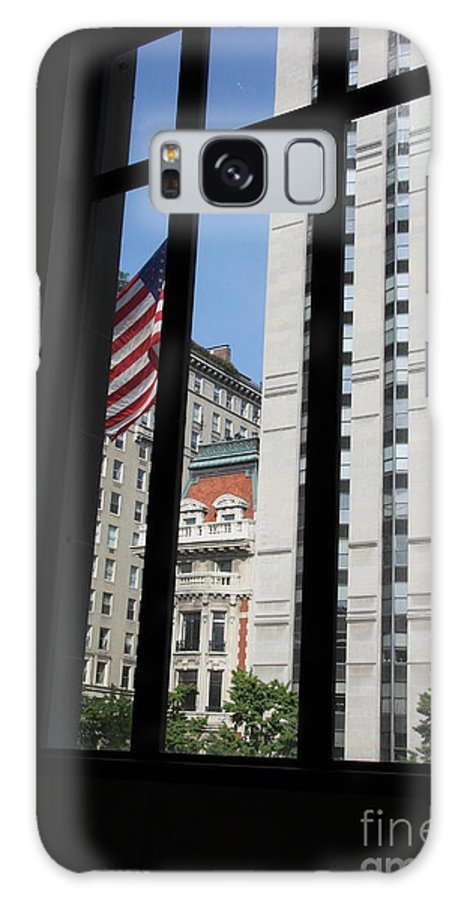 Window Galaxy S8 Case featuring the photograph Window View With Flag by Christiane Schulze Art And Photography