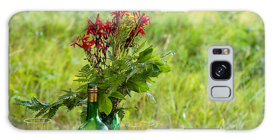 Flowers Galaxy S8 Case featuring the photograph Wine Bottle And Two Glasses by Les Palenik