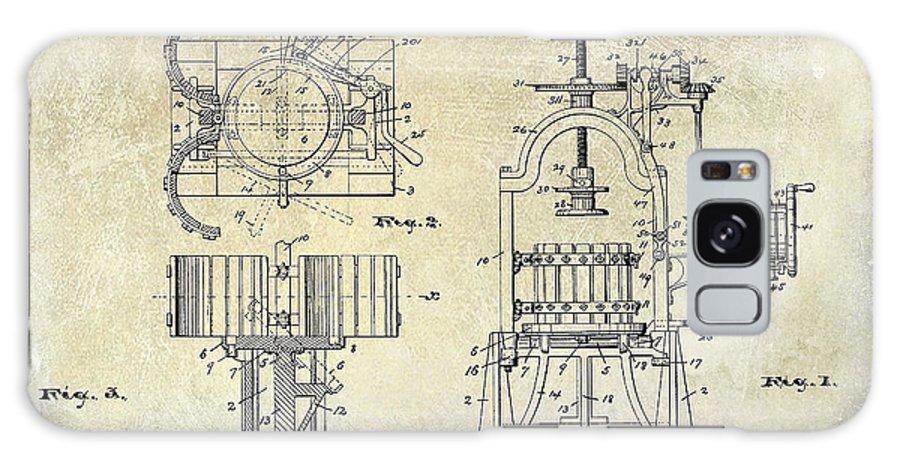 Wine Press Patent Drawing Galaxy S8 Case featuring the photograph Wine Press Patent 1903 by Jon Neidert