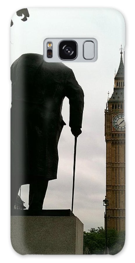 Winston Churchill Galaxy S8 Case featuring the photograph Winston Churchill Facing Big Ben by Lois Ivancin Tavaf