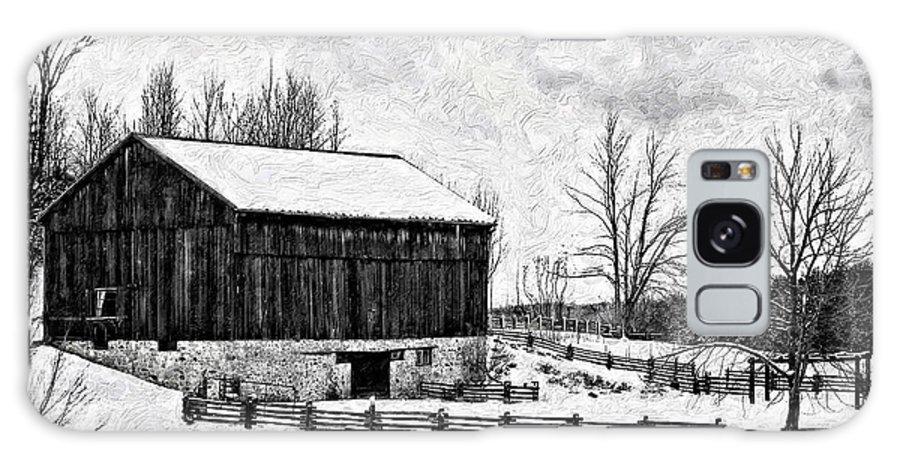 Barn Galaxy S8 Case featuring the photograph Winter Barn Impasto Version by Steve Harrington