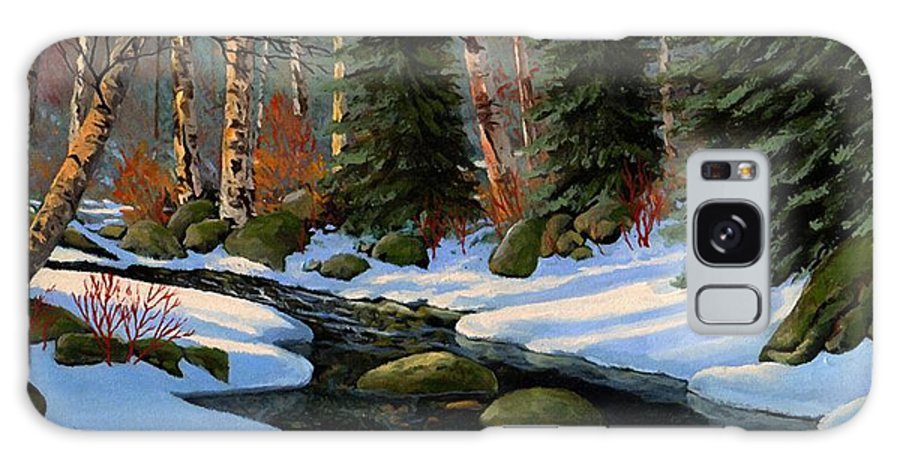 Landscape Galaxy S8 Case featuring the painting Winter Brook by Frank Wilson