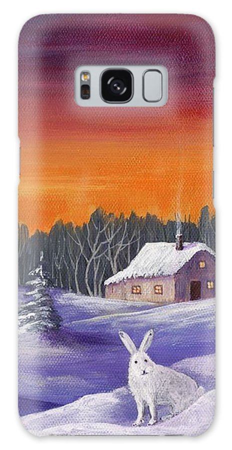 Winter Galaxy S8 Case featuring the painting Winter Hare Visit by Anastasiya Malakhova