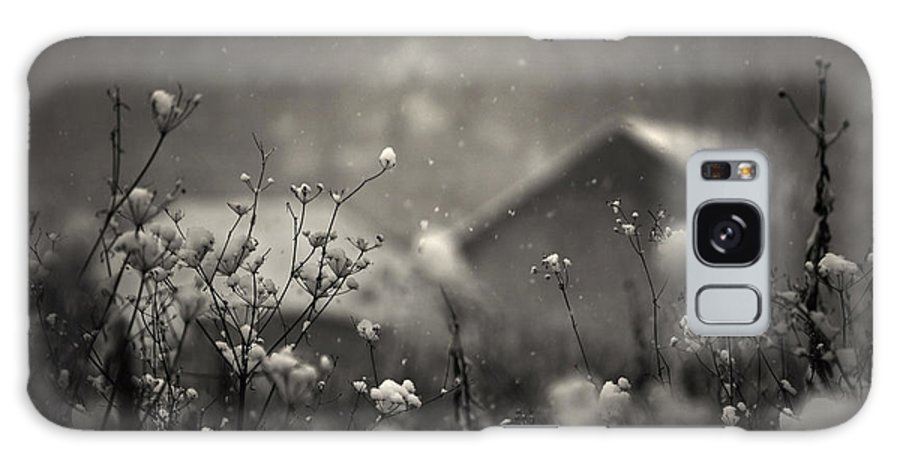 Winter Galaxy S8 Case featuring the photograph Winter Landscape With Snow Falling And Plants by Photo Cosma