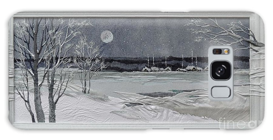 Leather Galaxy S8 Case featuring the painting Winter Moon by Yakubouskaya Olga