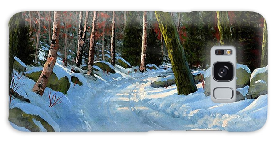 Landscape Galaxy S8 Case featuring the painting Winter Road by Frank Wilson