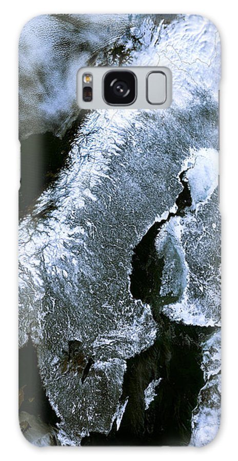 satellite Maps Galaxy S8 Case featuring the photograph Winter Scandinavia Satellite Map by Daniel Hagerman
