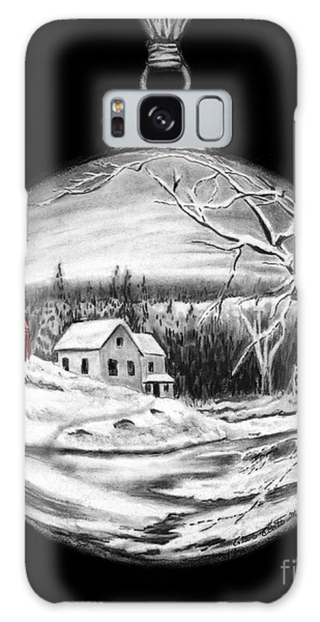 Christmas Cards Art Galaxy S8 Case featuring the drawing Winter Scene Ornament Red Barn by Peter Piatt