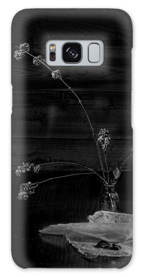 Plant Galaxy S8 Case featuring the photograph Winter Weeds In Bottle Black And White by Leah McDaniel