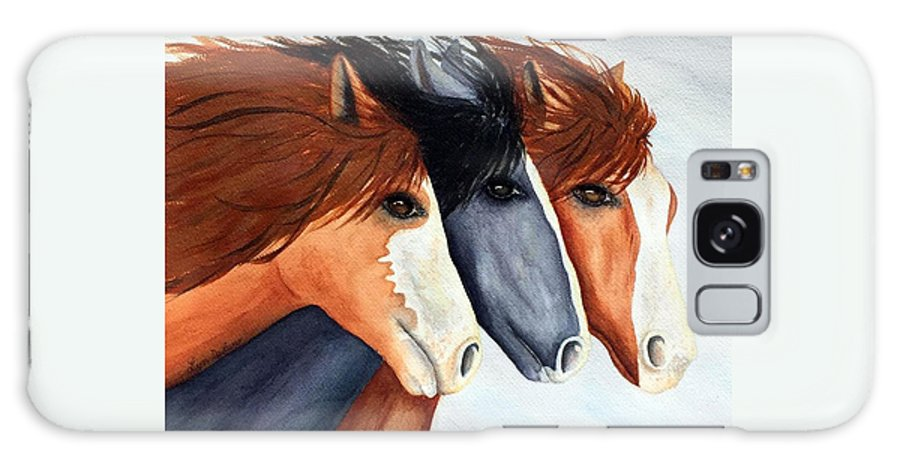 Horse Galaxy S8 Case featuring the painting Horse Trio by Lyn DeLano