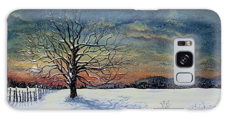 Oak Tree Galaxy S8 Case featuring the painting Winters Eve by Mary Palmer