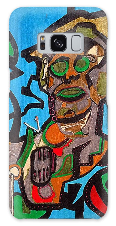 Robot Galaxy S8 Case featuring the painting Wired by M Gonzolo