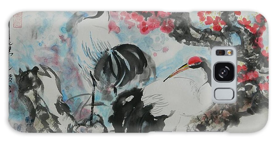 Cranes Galaxy S8 Case featuring the painting Wit The Plum Tree by Min Wang