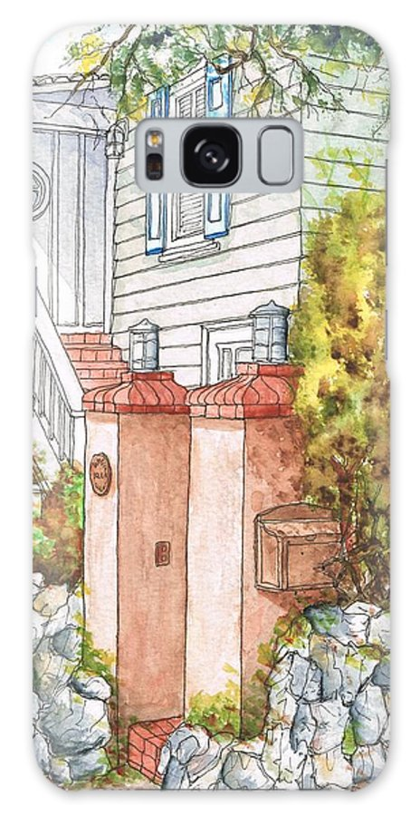 Nature Galaxy S8 Case featuring the painting Two Pillars And A Mail Box In Mt. Olympus - Hollywood Hills - California by Carlos G Groppa