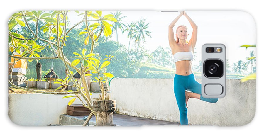 Asia Galaxy S8 Case featuring the photograph Woman Doing Yoga In The Morning by Nikita Buida