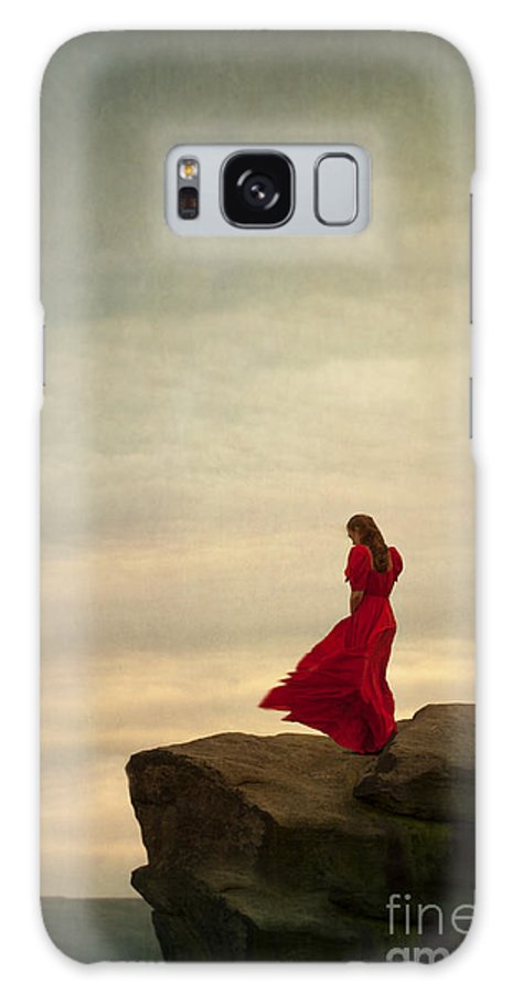 Woman Galaxy S8 Case featuring the photograph Woman In A Vintage Red Dress On A Windy Clifftop by Lee Avison