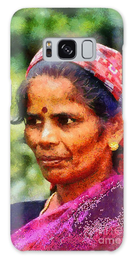 Woman; Adult; India; Kerala; Portrait; Face; Color; Colour; Colorful; Colourful; Asia; East; Eastern; Holidays; Vacation; Travel; Trip; Voyage; Journey; Tourism; Touristic; Paint; Painting; Paintings Galaxy S8 Case featuring the painting Woman In India by George Atsametakis
