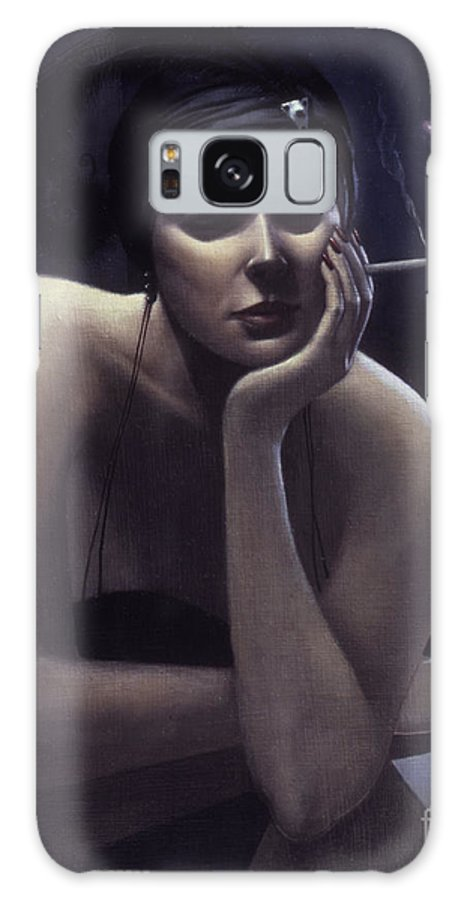 Cigarette Galaxy S8 Case featuring the painting Woman Left Lonely by Jane Whiting Chrzanoska