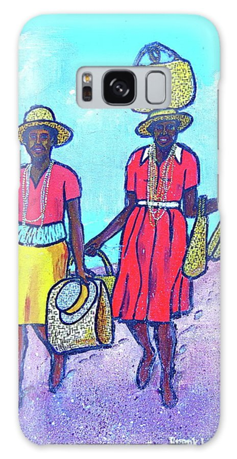 Granada Beach Grand Anse Yellow Basket On Head Black Women Two Red Dress Yellow Skirt Hat Galaxy S8 Case featuring the painting Women On Beach At Grenada by Frank Hunter