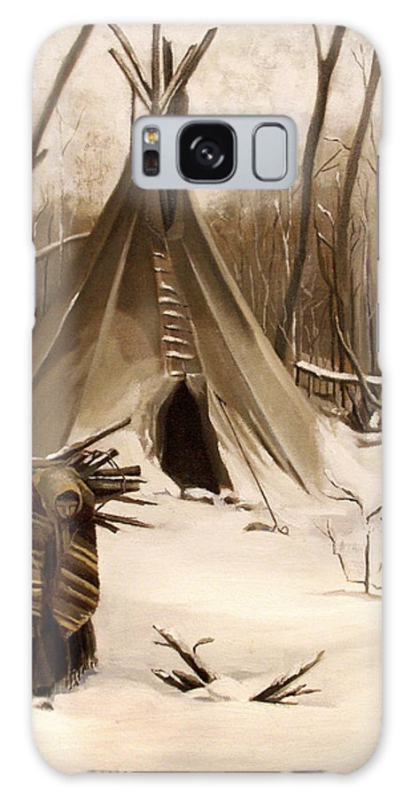 Native American Galaxy Case featuring the painting Wood Gatherer by Nancy Griswold