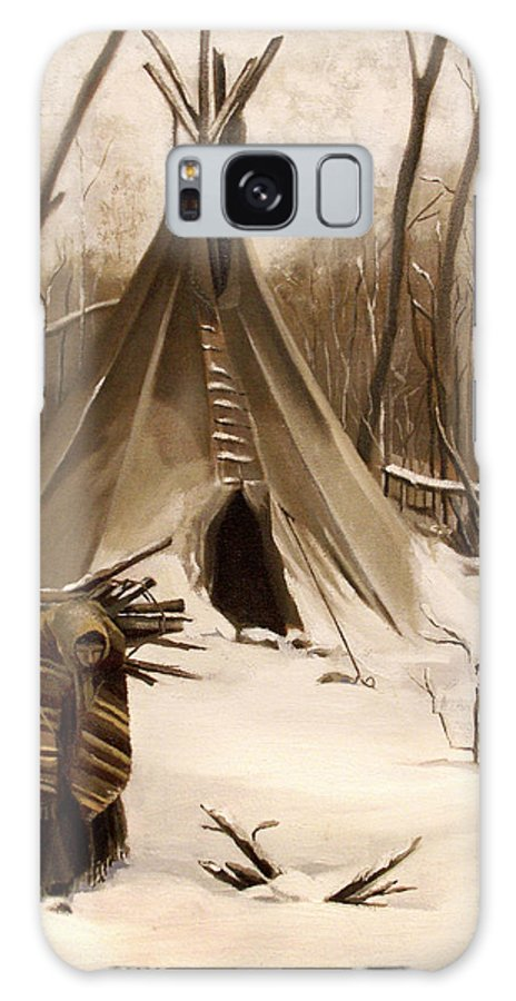 Native American Galaxy S8 Case featuring the painting Wood Gatherer by Nancy Griswold