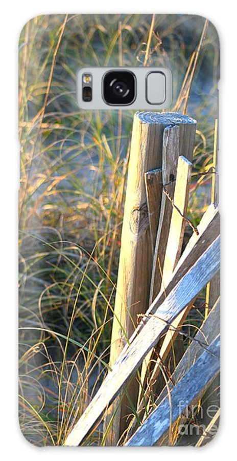 Post Galaxy Case featuring the photograph Wooden Post And Fence At The Beach by Nadine Rippelmeyer