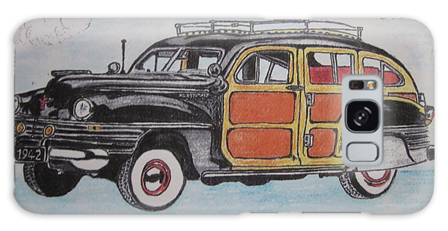 Woodie Galaxy S8 Case featuring the painting Woodie Station Wagon by Kathy Marrs Chandler