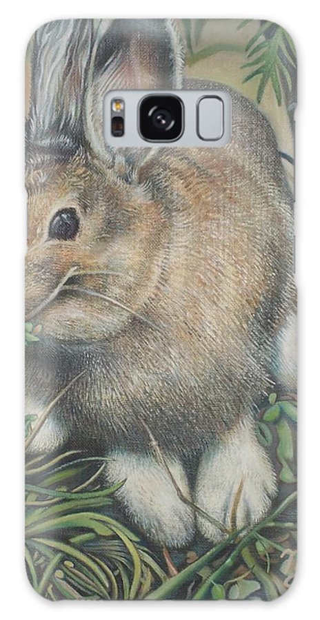 Rabbit Woods Close Landscape Animal Pensive Underbrush Leaves Twig Bamboo Unsettled Galaxy S8 Case featuring the painting Woods Rabbit by Michael Briere