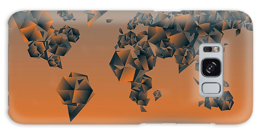 Map Of The World Galaxy S8 Case featuring the painting World Map In Geometric Orange by Bekim Art