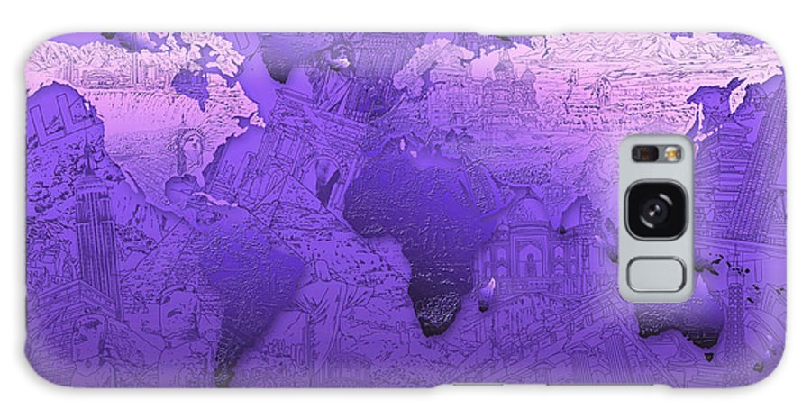 Map Of The World Galaxy S8 Case featuring the painting World Map In Purple by Bekim Art