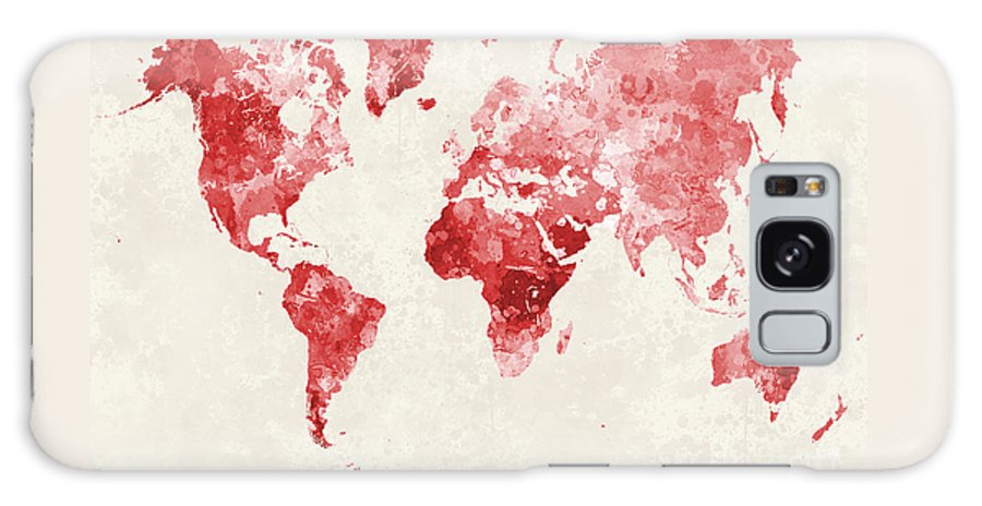 Map Galaxy S8 Case featuring the painting World Map In Watercolor Red by Pablo Romero