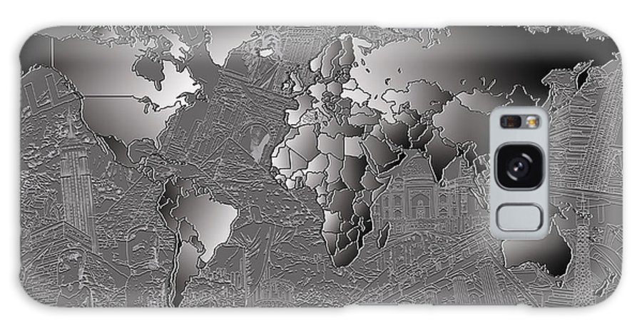 Map Of The World Galaxy S8 Case featuring the painting World Map Landmark Collage 6 by Bekim Art