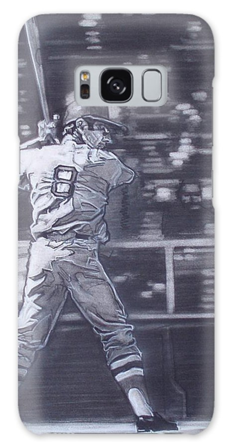 Charcoal Galaxy S8 Case featuring the drawing Yaz - Carl Yastrzemski by Sean Connolly