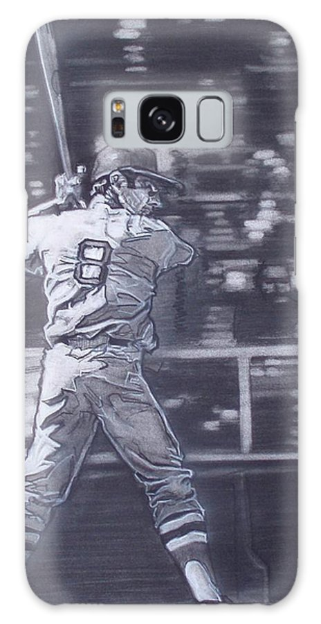 Charcoal On Paper Galaxy S8 Case featuring the drawing Yaz - Carl Yastrzemski by Sean Connolly
