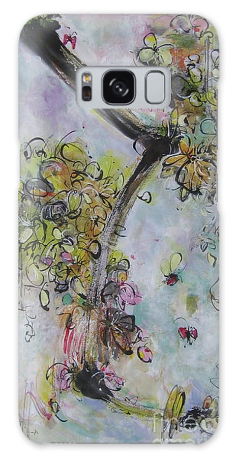 Flower Painting Modern Acrylic Ink Art Galaxy S8 Case featuring the painting Yellow Blossoms Painting Flowr Butterflies Art Abstract Modern Spring Color Flower Art by Seon-Jeong Kim