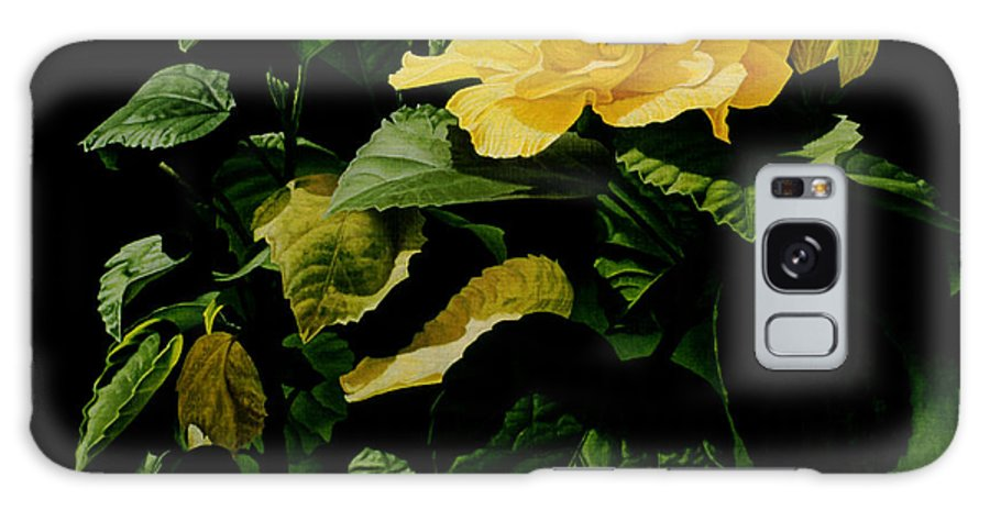 Floral Galaxy Case featuring the painting Yellow Hibiscus by Gary Hernandez