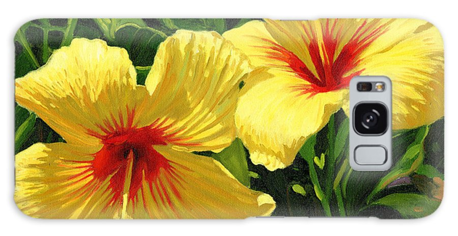 Floral Galaxy S8 Case featuring the painting Yellow Hibiscus by Steve Simon