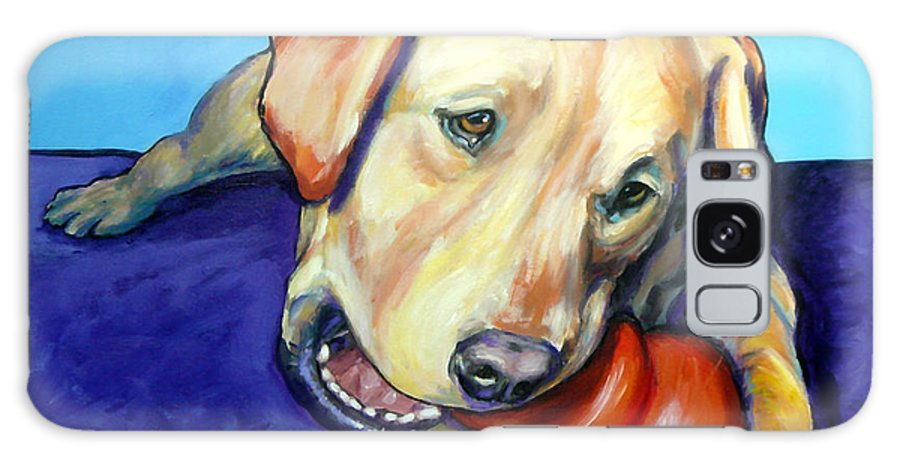 Labrador Retriever Galaxy S8 Case featuring the painting Yellow Lab With Kong by Dottie Dracos