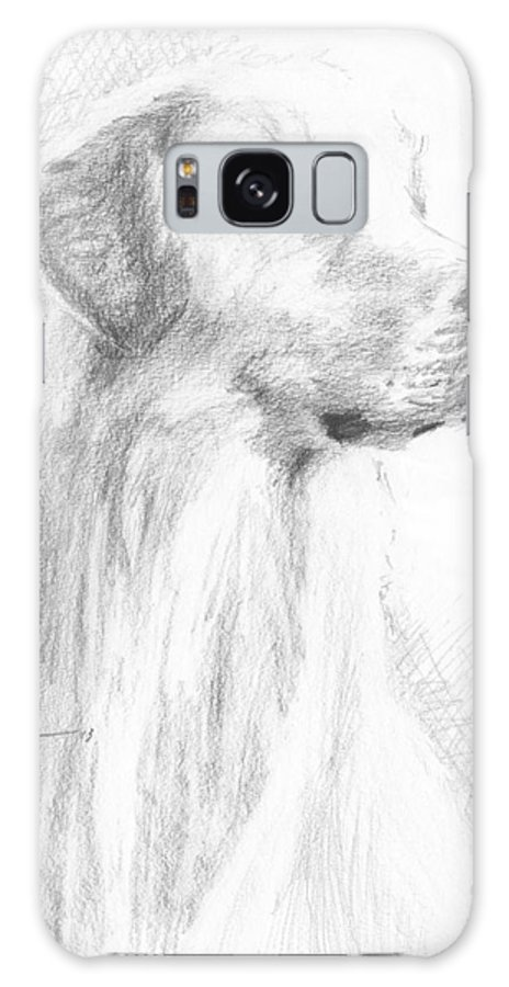 <a Href=http://miketheuer.com Target =_blank>www.miketheuer.com</a> Yellow Labrador Show Dog Pencil Portrait Galaxy S8 Case featuring the drawing Yellow Labrador Show Dog Pencil Portrait by Mike Theuer