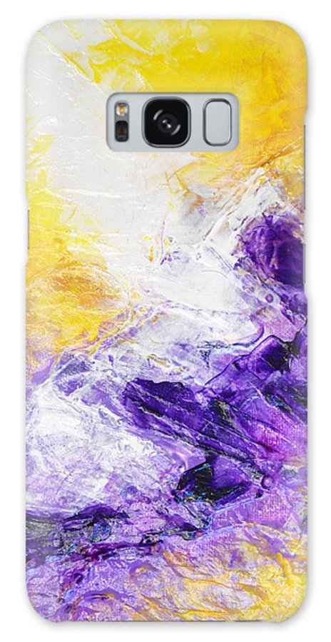Yellow Galaxy S8 Case featuring the painting Yellow Purple Inspirational Color Energy Original Abstract Painting Tide Of Time By Chakramoon by Belinda Capol