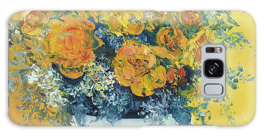 Roses Oil Painting Galaxy S8 Case featuring the painting Yellow Roses by Jan Matson