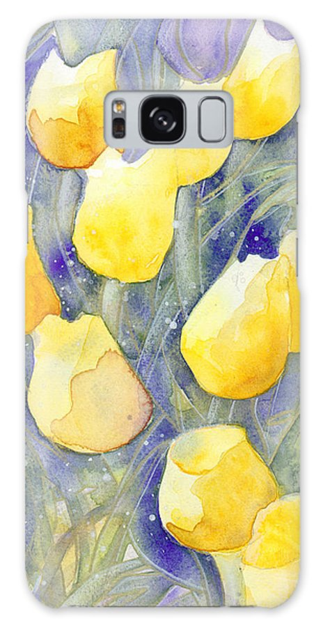 Yellow Tulips Galaxy Case featuring the painting Yellow Tulips 1 by Christina Rahm Galanis