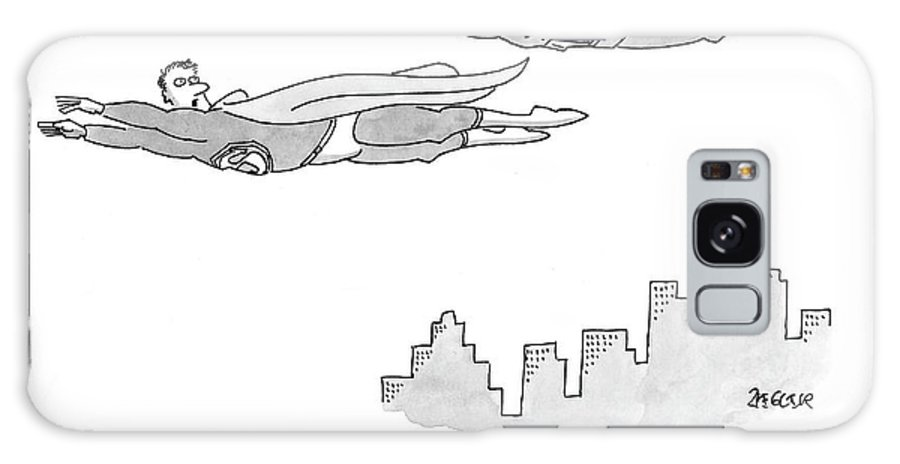 Writers Write Books Book Superhero Flying   (one Super Hero To Another.) 120029 Jzi Jack Ziegler Galaxy S8 Case featuring the drawing Yes, But What I Really Want To Do Is Write by Jack Ziegler
