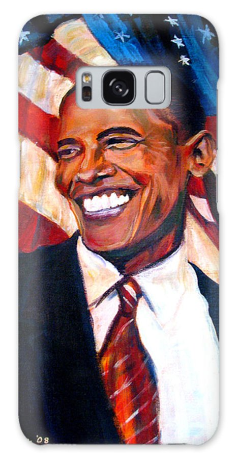 Barack Galaxy Case featuring the painting Yes We Can by Art Nomad Sandra Hansen
