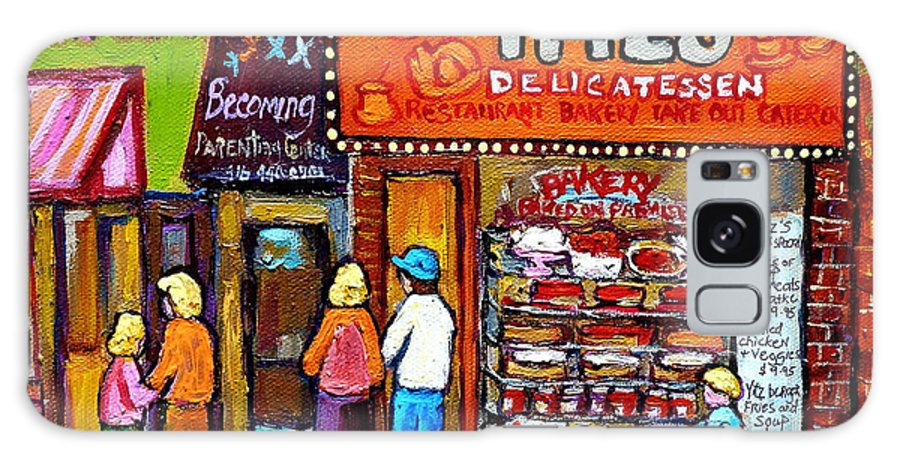 Yitzs Galaxy S8 Case featuring the painting Yitzs Deli Toronto Restaurants Cafe Scenes Paintings Of Toronto Landmark City Scenes Carole Spandau by Carole Spandau